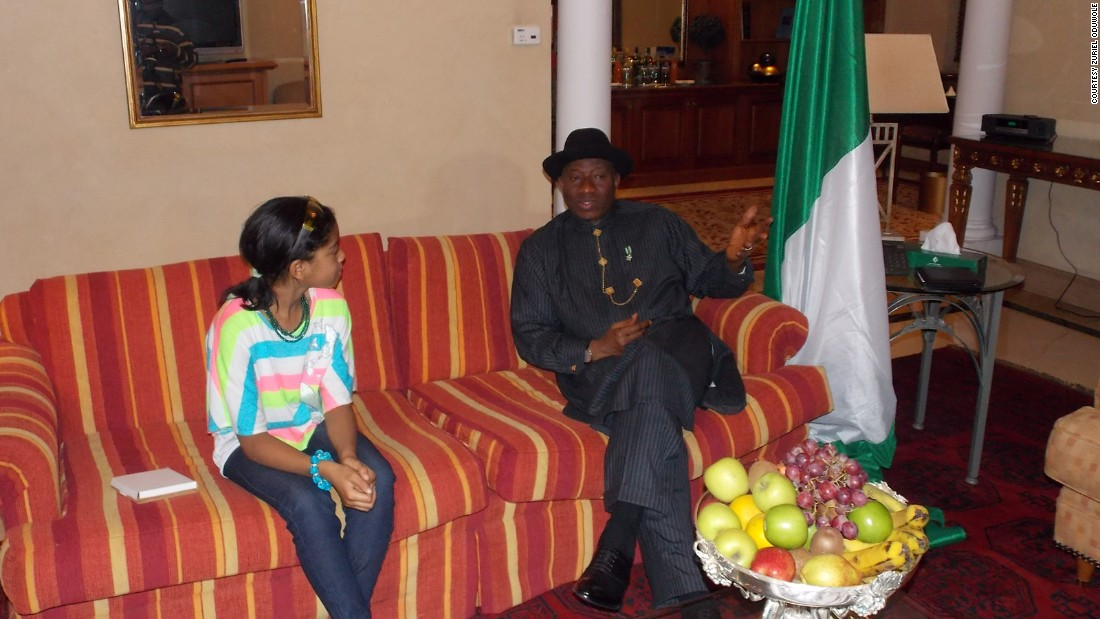 Oduwole sits with Nigeria's departing president Goodluck Jonathan.