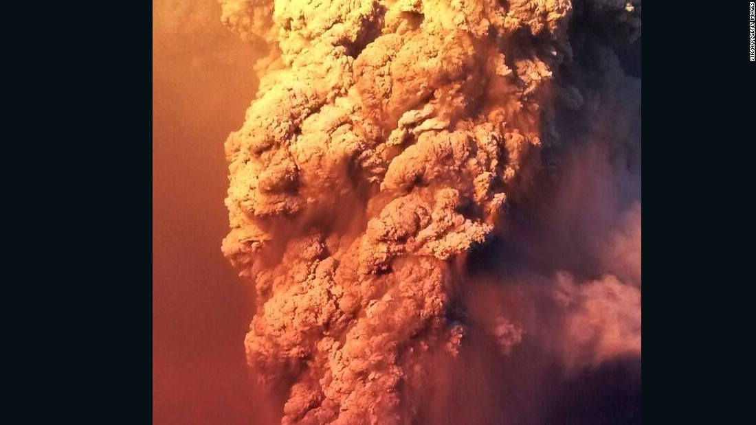 Ash and smoke shoots into the sky from the Calbuco Volcano.