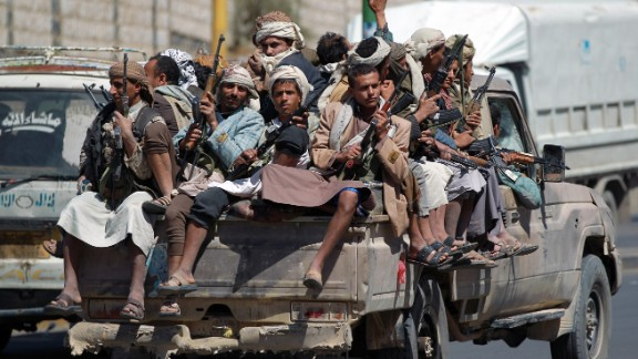 Houthi rebels in Sanaa, the Yemeni capital, on September 21.