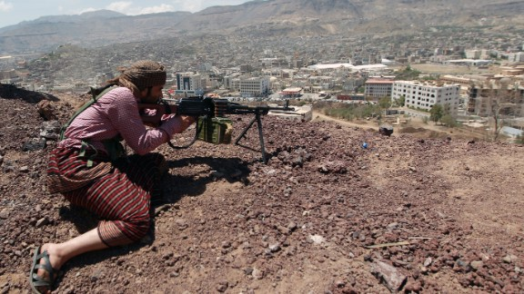 A Houthi rebel holding a position at an army base captured without resistance in September.