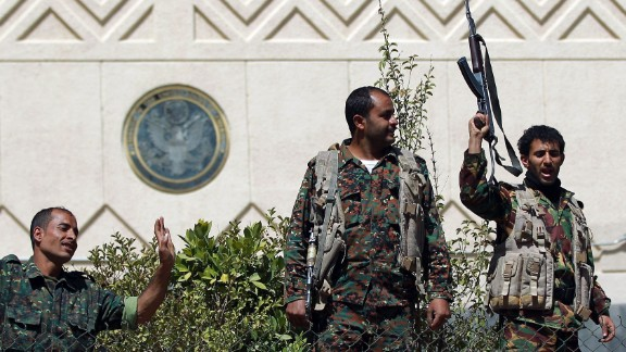 Yemeni soldiers outside the compound of the U.S. embassy in Sanaa on March 4.