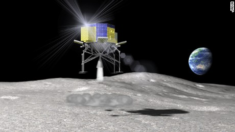 An artist's impression of JAXA's SLIM (Smart Lander for Investigating Moon) rover landing on the moon's surface.