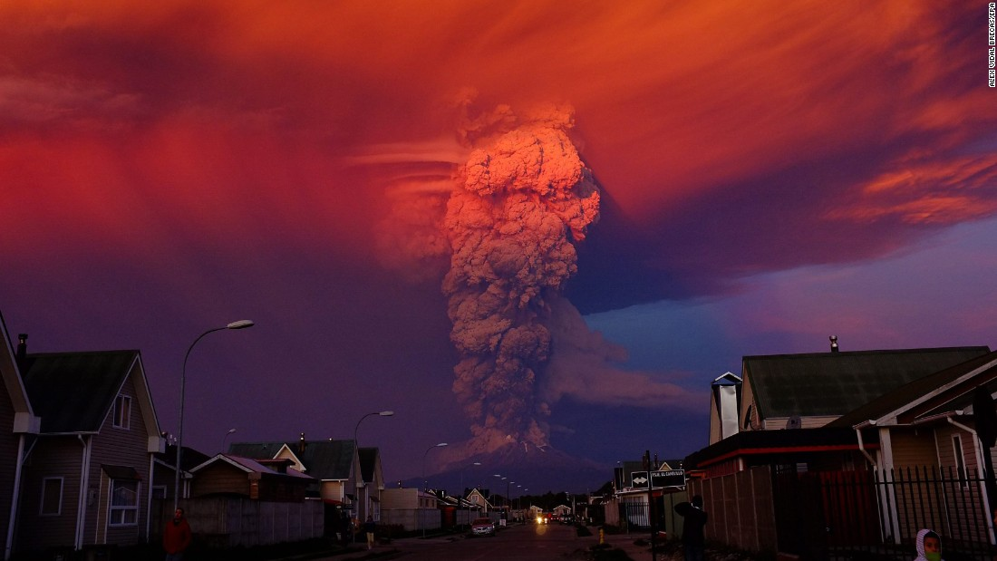 "Smoke rises from the Calbuco volcano near Puerto Montt, Chile, on Wednesday, April 22. It was <a href=""http://www.cnn.com/2015/04/23/americas/chile-volcano/"" target=""_blank"">the volcano's first eruption in more than 40 years,</a> and nearby residential areas were evacuated."