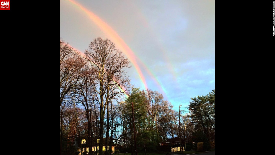 "After the New York area received a large amount of rain on Tuesday, April 21, four rainbows apparently stretched across the early morning sky. According to CNN weather producer Rachel Aissen, <a href=""http://www.cnn.com/2015/04/21/us/new-york-quadruple-rainbow/"" target=""_blank"">it was actually a double rainbow</a> that had been reflected in the sky by the smooth body of water underneath it."