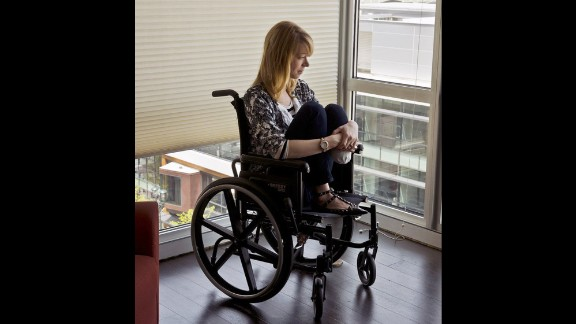 Adrianne Haslet-Davis is a ballroom dancer. She remembers walking through the crowd on Boylston Street, holding hands with her husband, Adam, and feeling happy and in love. Then the bombs went off. Her husband, who is in the military, told her they'd been in a terrorist attack. But the second bomb went off before they could leave. She knew immediately something was wrong with her foot, and could see blood everywhere. She couldn't hear her own screams and thought she was dead. They were dragged into the Forum restaurant, and a first responder recalled hearing her husband apologize to her over and over for bringing her to the event. She testified that he recently checked himself into a Veterans Affairs mental health program.