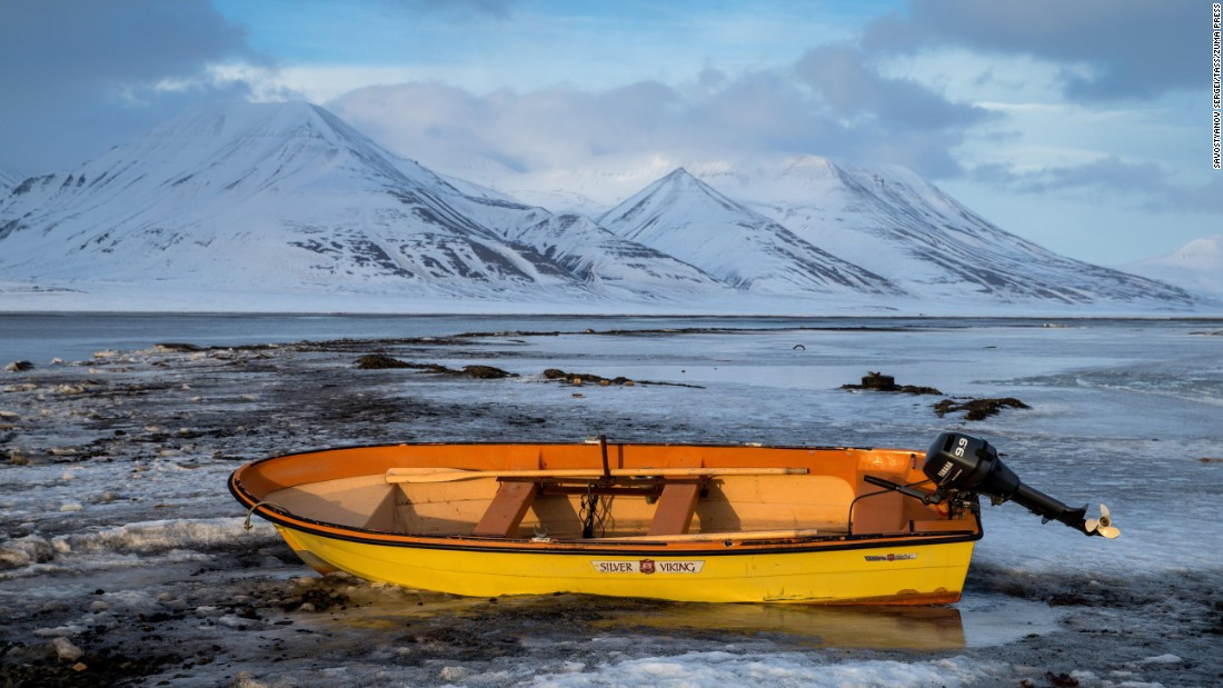 An abandoned boat is seen in Svalbard, an Norwegian archipelago, on Saturday, April 18.
