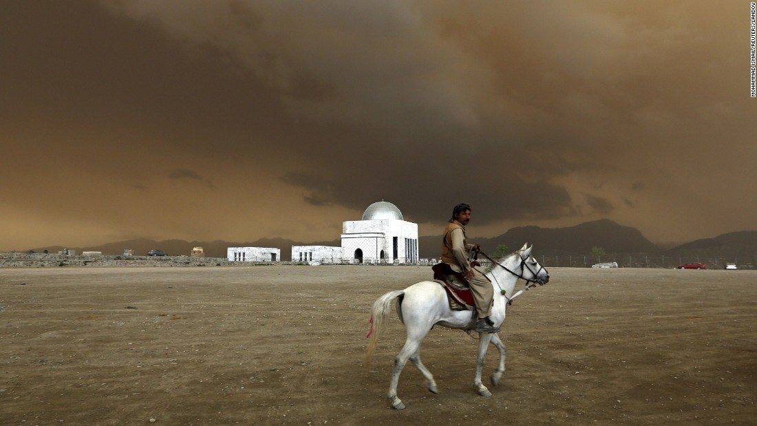 A man rides a horse in Kabul, Afghanistan, on Sunday, April 19.