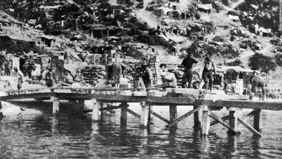 A landing pier constructed by the Allies at Gallipoli during WWI.