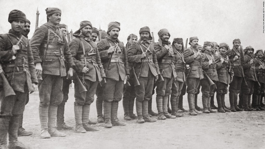 Turkish troops on parade at Gallipoli during World War I, circa 1915. They put up fierce resistance to the incoming forces, managing to hold them back, while sustaining heavy losses themselves.