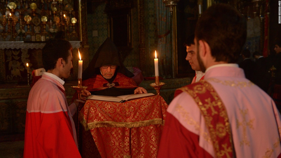An Armenian Church service is held at the St. James Cathedral on April 23.