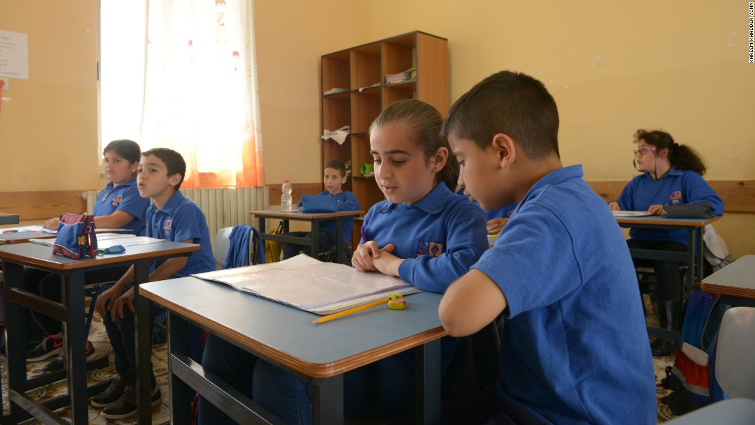 Armenian students attend class at the only Armenian school in Jerusalem.<br />