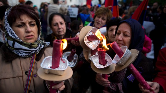Armenian women hold torches during a march in Jerusalem, Israel, on Thursday, April 23, commemorating the 100th anniversary of what many historians call the first genocide of the 20th century. Turkey disputes the claim, arguing that it was a war with losses on both sides.