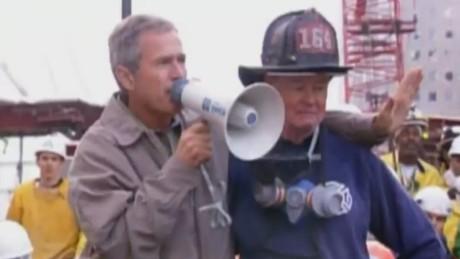2001 Bush Rallies First Responders After 9 11 Attacks Cnn Video