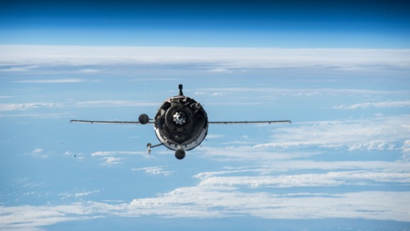 A Soyuz TMA-16M spacecraft approaches the International Space Station on March 27. The spacecraft was carrying Kelly and Russian cosmonauts Gennady Padalka and Mikhail Kornienko. Kelly and Kornienko will spend a year in space. Padalka will stay for six months.