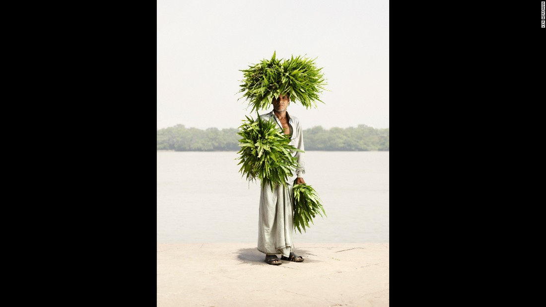 "The abundant leaves come to life in Odhir Gayen's portrait. ""These are a special kind of leaves, and many of (the sellers) carry them on their head and (on their) arms,"" Hermann said. ""And when they walk around, it's almost like a human bush or something like that.""​"