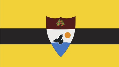 The flag of Liberland, the nascent 'micro nation' established by libertarian Czech politician Vit Jedlicka on April 13, 2015.