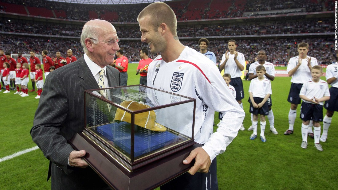 Beckham received his 100th cap from Manchester United legend Bobby Charlton in 2008 and the midfielder went on to play 115 times at the top level -- the most by any English outfield player and second only behind goalkeeper Peter Shilton's 125 internationals.