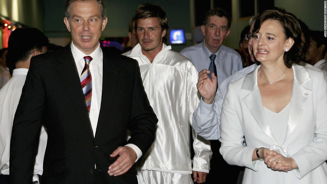 In 2005, he helped London's successful bid for the 2012 Olympics. Here he is pictured with then British Prime Minister Tony Blair (L) and his wife Cherie Blair.