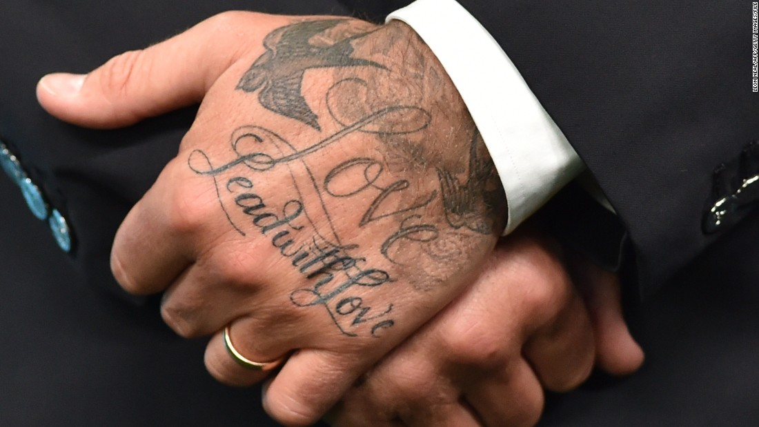 "Beckham's sculpted body is heavily tattooed. This is a closeup of his hand taken during the ""United for Wildlife"" conservation campaign launch in 2014."