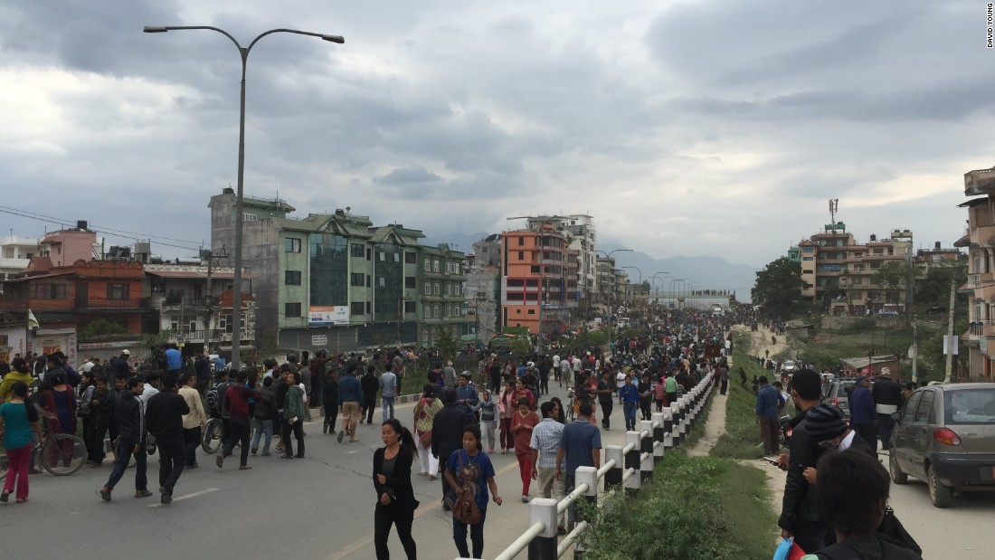 Young says people gathered in the street after the quake and repeated aftershocks.