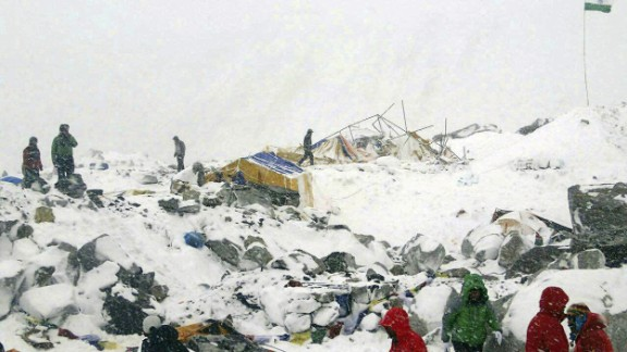 Azim Afif, of the Universiti Teknologi Malaysia climbing team, provided this photo of their Mount Everest base camp after it was ravaged by an avalanche triggered by the earthquake on April 25. All of Afif