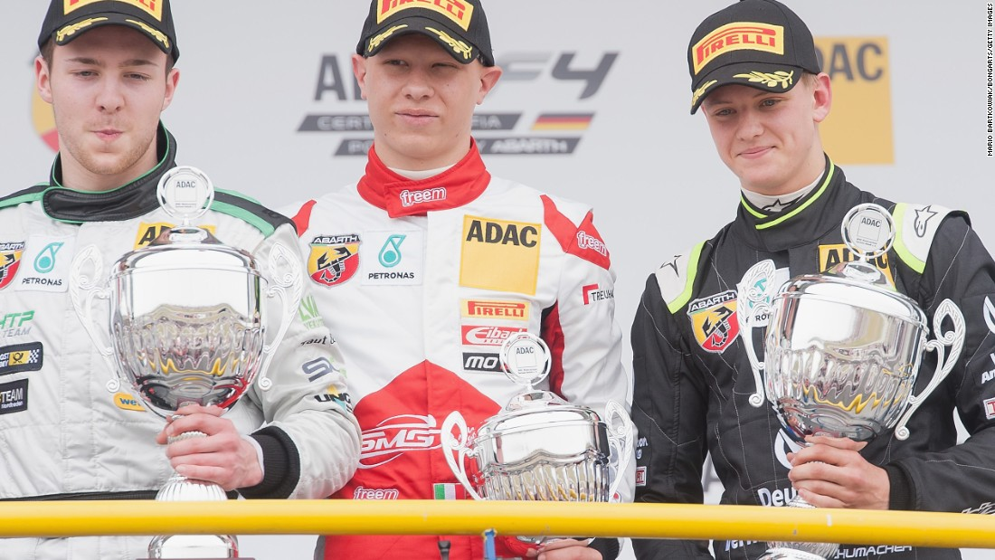 The son of seven-time F1 champion Michael Schumacher is pictured right on the podium with race winner Marvin Dienst (left) and third-placed Mattia Drudi.