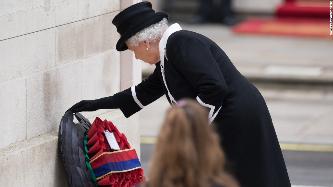 Britain's Queen Elizabeth lays a wreath during a service to commemorate Anzac Day and the centennial of the Battle of Gallipoli at the Cenotaph war memorial in central London on Saturday, April 25. A century ago, Allied troops came ashore at Gallipoli in modern Turkey at the start of an ill-fated land campaign to take the Dardanelles Strait from the Ottoman Empire. The disastrous World War I battle began on April 25, 1915, and pitted troops from Australia, Britain, France and New Zealand against the Ottoman forces backed by Germany.
