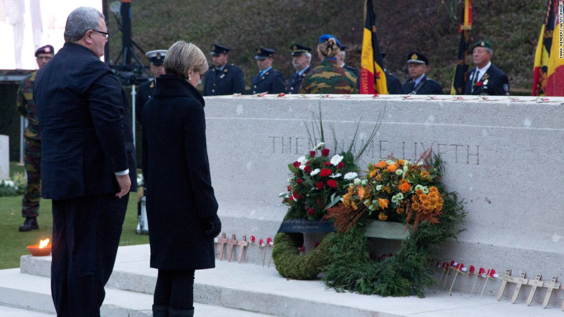 New Zealand Defense Minister Gerry Brownlee and Australian Foreign Minister Julie Bishop observe the centennial of the WWI Gallipoli campaign at Polygon Wood in Zonnebeke in Ypres, Belgium.