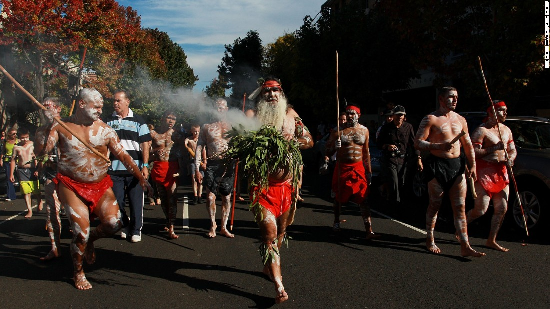 Indigenous dancers lead the parade through Redfern toward Alfred Park as part of the Redfern Aboriginal Anzac Day Commemoration in Sydney, Australia. The day is named for the Australian and New Zealand Army Corps, which suffered heavy losses during the protracted Gallipoli campaign.