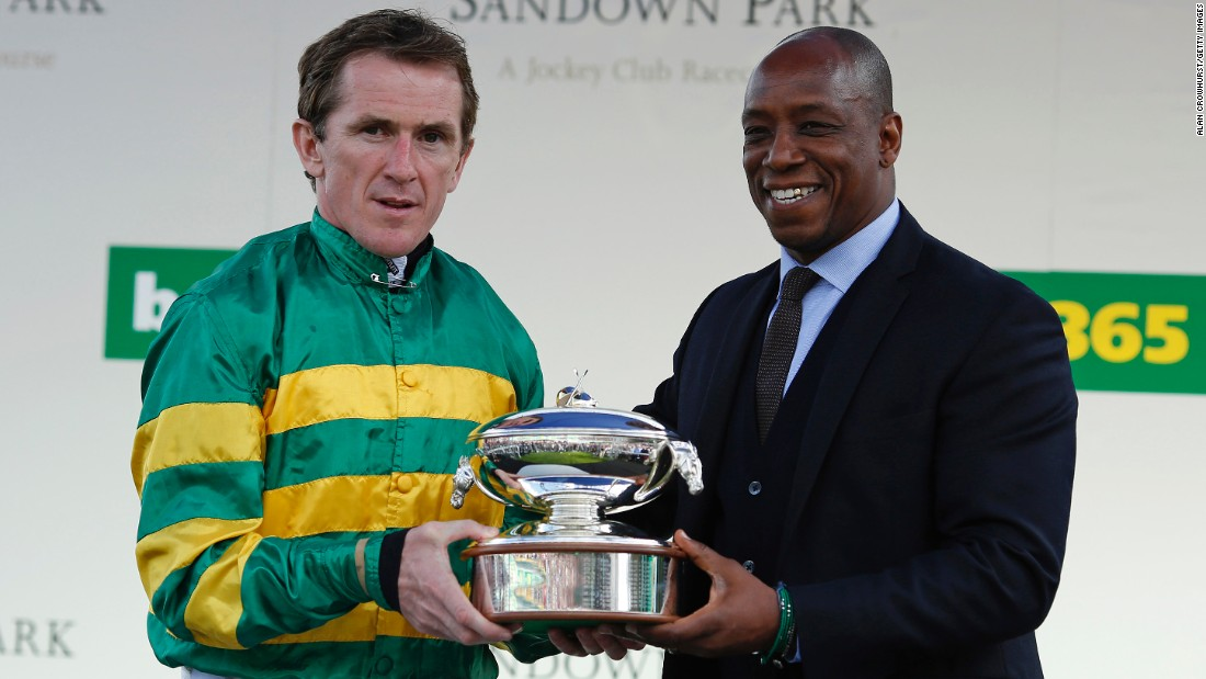 The 40-year-old was presented with the champion jockey trophy for the 20th year in a row by former England and Arsenal football star Ian Wright.