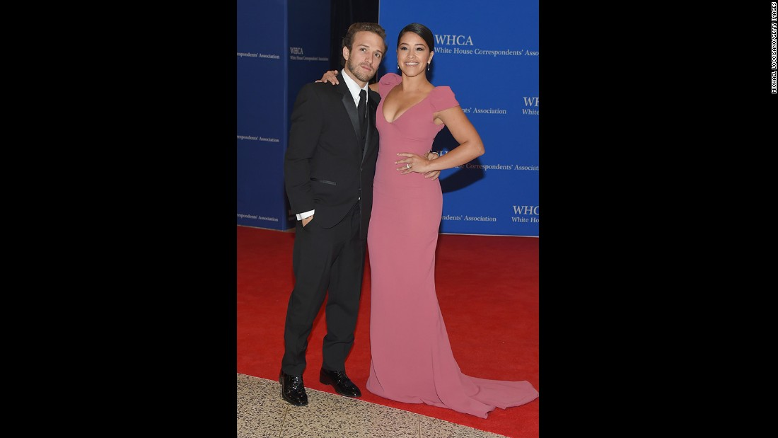 Actress Gina Rodriguez, right, and Henri Esteve attend the 101st Annual White House Correspondents' Association Dinner at the Washington Hilton on April 25, 2015 in Washington, D.C.