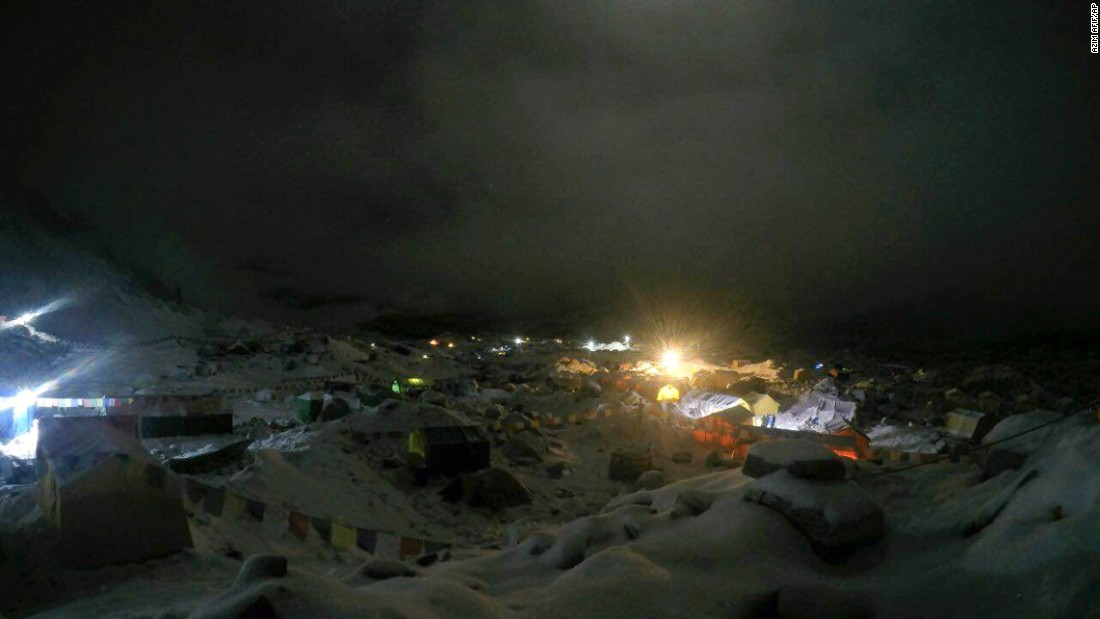 Night falls after an avalanche triggered by a massive earthquake swept across Everest base camp.