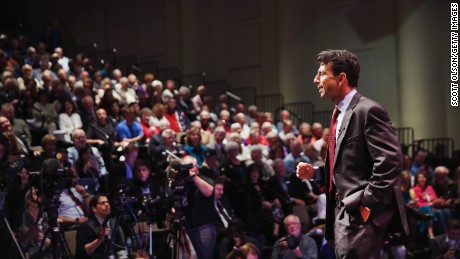 Louisiana Governor Bobby Jindal talks about becoming a born-again Christian at the Point of Grace Church for the Iowa Faith and Freedom Coalition 2015 Spring Kickoff on Saturday in Waukee, Iowa.