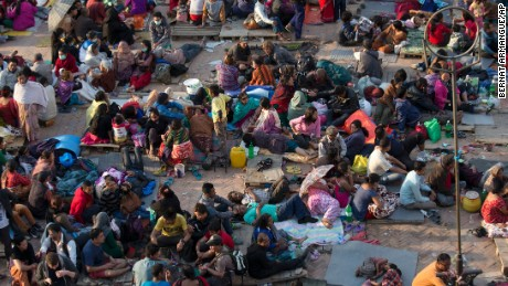 People gather in the open in Kathmandu after the earthquake.