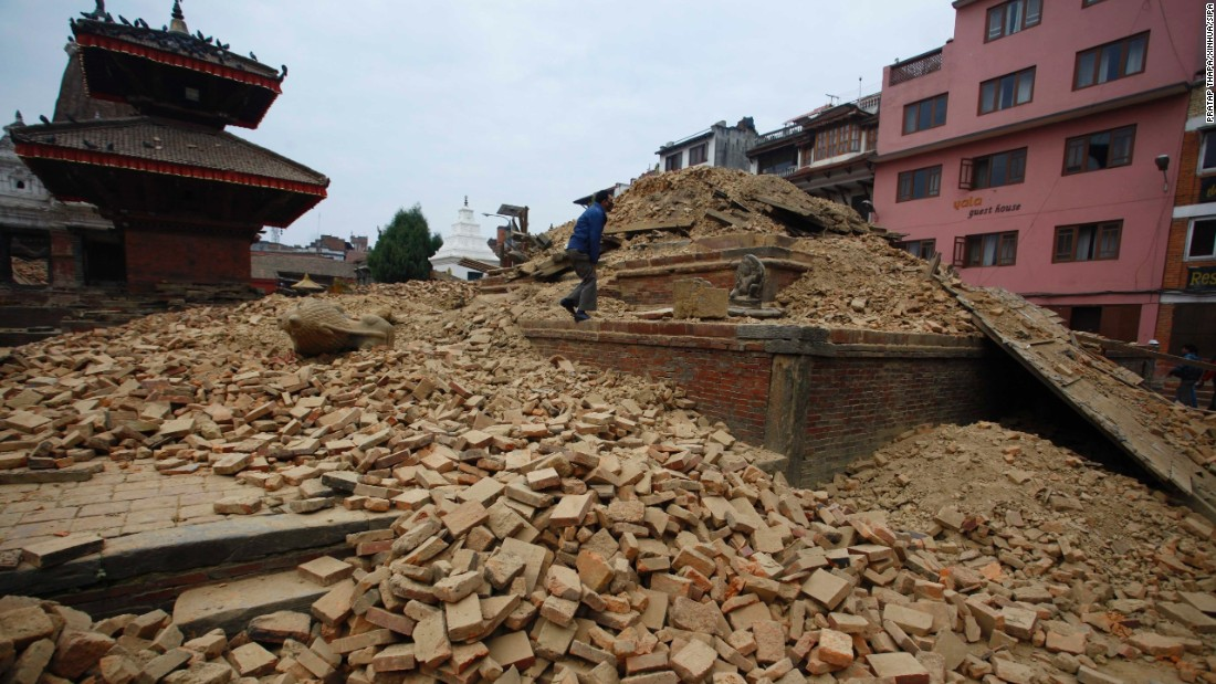 A fallen temple is seen in Nepal's Patan Durbar Square after the 7.8-magnitude earthquake. While many structures in the square were heavily damaged, three major structures -- Krishna Temple, Vishwanath Temple, and Bhimsen Temple (not pictured) -- are believed to have survived largely intact.