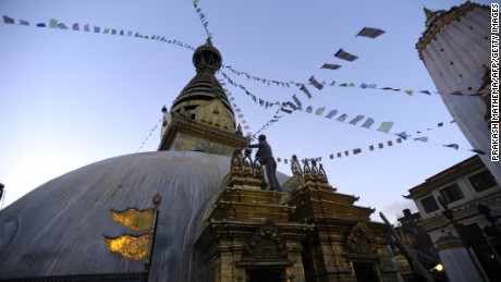 The Swayambhunath Stupa, also known as the moneky temple is seen on May, 2013 in Kathmandu, Nepal.