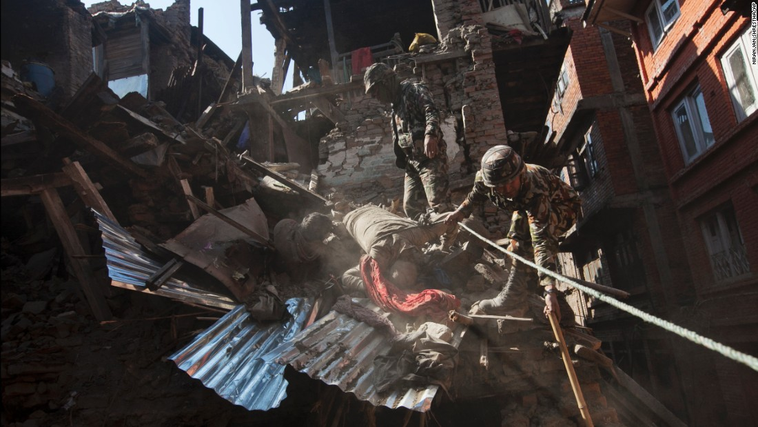 Members of the Nepalese army retrieve bodies from a collapsed building in Bhaktapur near Kathmandu on April 27.