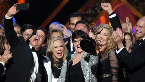 """The cast and crew of """"The Young and the Restless"""" and """"Days of Our Lives"""" accept the award for outstanding drama series at the 42nd annual Daytime Emmy Awards on Sunday, April 26."""