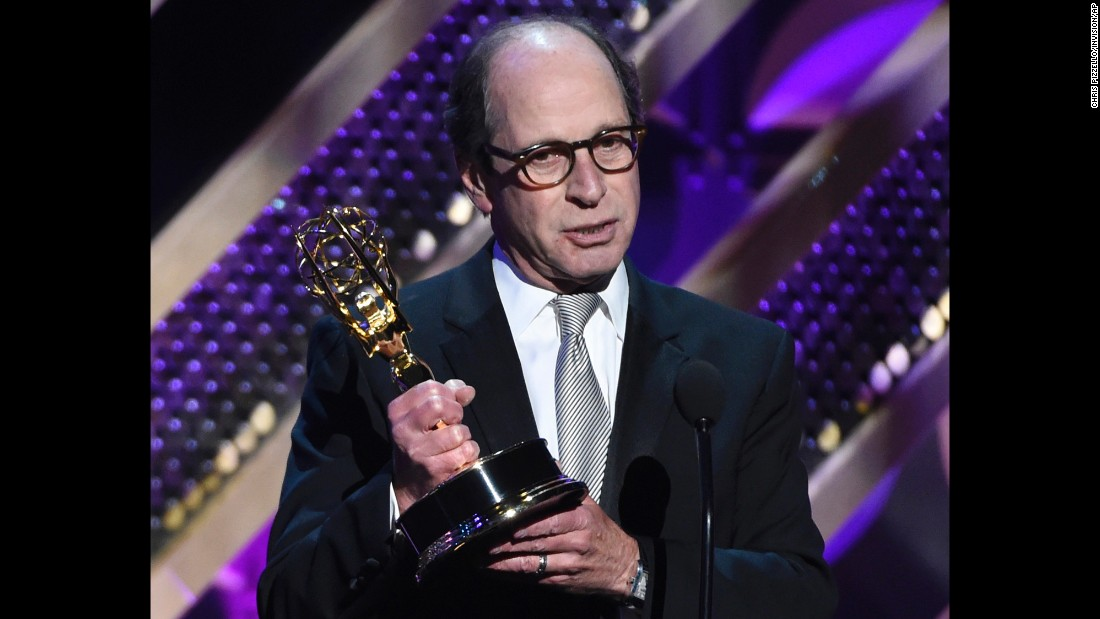 "Harry Friedman accepts the award for outstanding game show for ""Jeopardy!"""