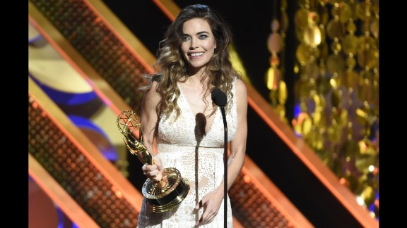 """Amelia Heinle accepts the award for outstanding supporting actress in a drama series for her role on """"The Young and the Restless."""""""