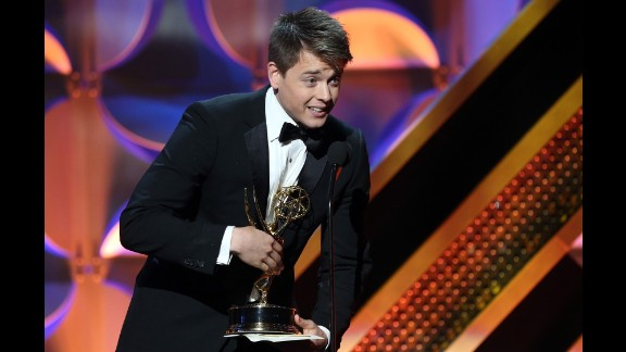"""Chad Duell of """"General Hospital"""" accepts the award for outstanding supporting actor in a drama series."""