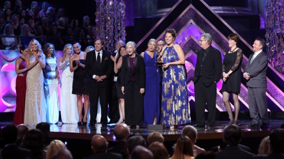 """""""The Bold and the Beautiful"""" director Cynthia J. Popp, center, accepts the award for outstanding drama series directing team."""