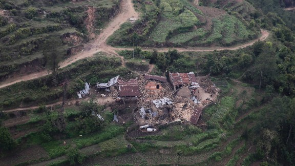 An aervial view shows ruined buildings in Trishuli Bazar on April 27.