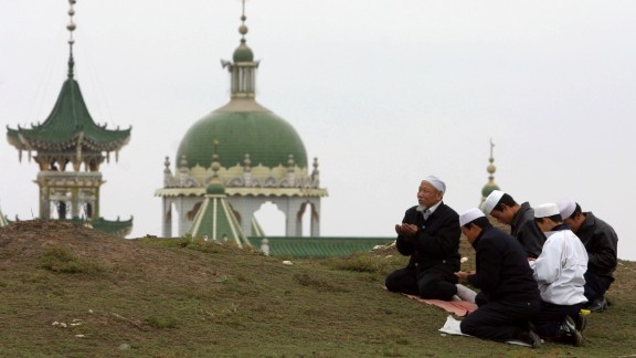 An estimated 200,000 people were killed when a 7.8-magnitude earthquake hit Haiyuan County, China, on December 16, 1920. Here, Muslims pray outside a mosque in Haiyuan in 2007.