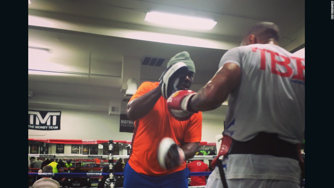 "Pad work follows bag work, 25 minutes straight, without a break.  ""When I first came here Roger Mayweather (Floyd's two-time world champion uncle) asked me who I was was. I told him 'Ashley Theophane, British champion.' He said: 'That don't mean shit, that don't mean you can fight.' So he got his mitts and we went to work on the pads -- after a while he said, 'Yeah, he's okay.' """
