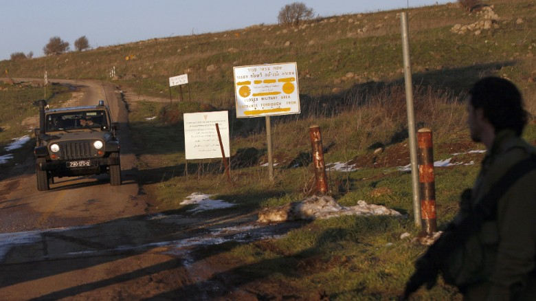 File: Israeli troops patrol the Israeli-occupied sector of the Golan Heights on January 18, 2015.