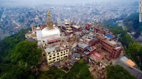 A drone captured images that show an aerial view of Nepal's capital city Kathmandu after the 7.9 magnitude earthquake that struck on April 25.