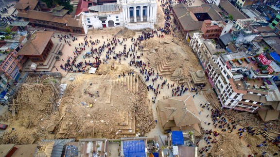 An aerial view of the devastation in Kathmandu on April 27. The destruction in Nepal