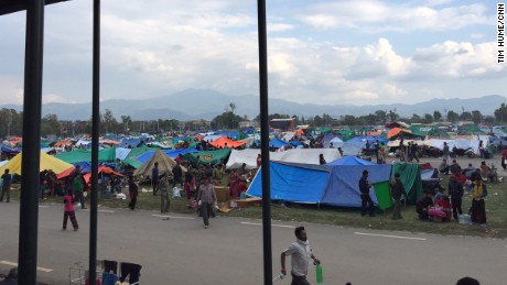 Many of the wounded are now sheltered in tents at the Nepal Army Pavilion, across the road from Kathmandu's Bir Hospital.