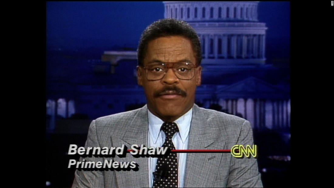 "Bernard Shaw anchors ""Prime News"" from the Washington newsroom. Shaw worked at CNN for 21 years. In an interview ahead of CNN's 35th birthday, he called himself a ""journalist who happened to anchor."""